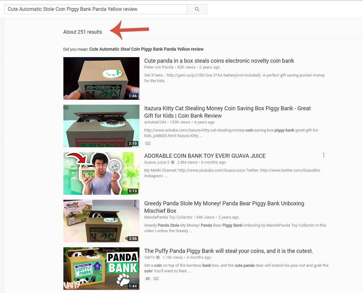 Screenshot for YouTube Piggy Bank Review search results.