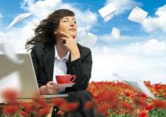 businesslady with laptop is working in a field full of poppies.
