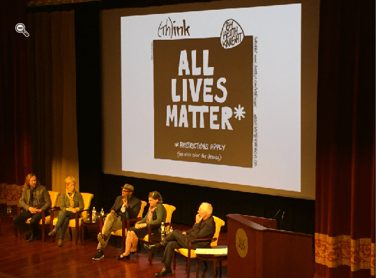 """Political cartoonists Tom Toles, Signe Wilkinson, Keith Knight, Jen Sorensen and David Sipress, moderator, at """"Drawn From the Headlines"""" at the National Archives. (Photo: TruthBeTold.news)"""