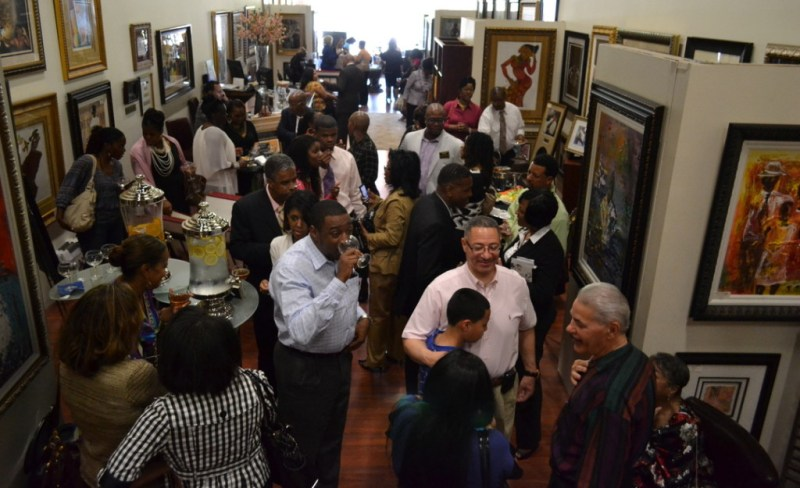 Patrons of the Overdue Recognition Art Gallery in Bowie, Md., a successful black-owned business that represents about 100 African-American artists and was co-founded in 2004 by Jackie and Derrick Thompson. Photo: Joe Bellard.