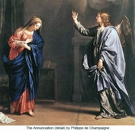 The Annunciation (detail) by Philippe de Champaigne