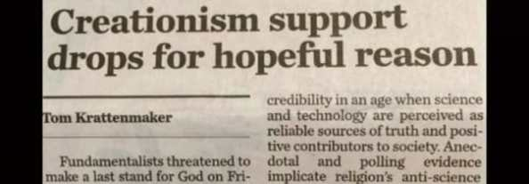 IS CREATIONISM SUPPORT DROPPING? A Response to USA Today and a Warning to Creationists