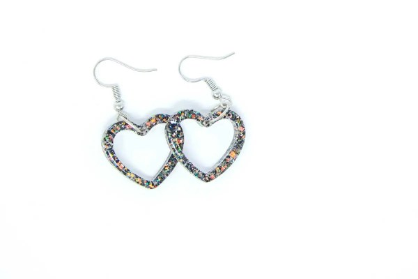 Midnight Shades Heart Earrings