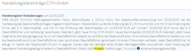 Handelsregisterauszug CYM-GmbH Mainz (HRB 45125)