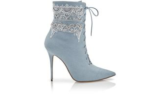DANCEHALL COWGIRL JEWEL: Light Blue Denim Sequin Detail Ankle Boots