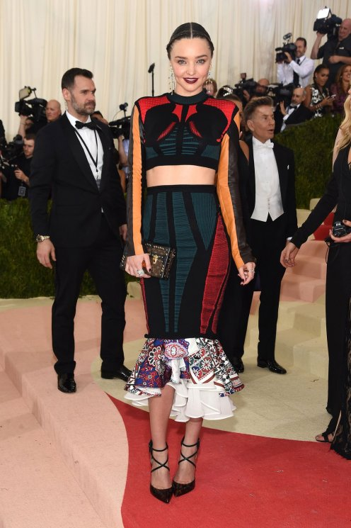I love how the the the pattern of the shirt and the top part of the skirt contrasts the bottom part of the skirt, it ads a softer side to the edge. SOURCE: http://www.vogue.com/slideshow/13429562/met-gala-2016-red-carpet-celebrity-fashion-live/#16