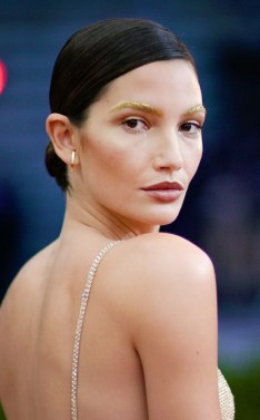 Eyebrows on FLEEK! Simple but effective, the effect that her gold brows had on her look. SOURCE: http://www.eonline.com/news/761740/met-gala-2016-how-to-get-lily-aldridge-s-gilded-gold-brows