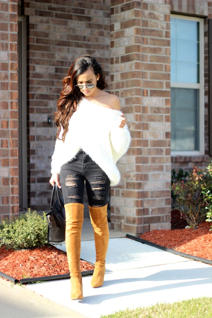 Camel Over the Knee Boots. Click through to shop.