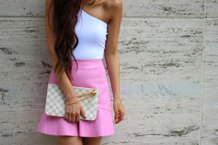 White top and Pink Skirt