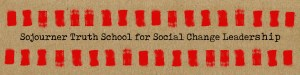 Web page banner with words Sojourner Truth School for Social Change Leadership in black on a brown background and rows of red brush strokes above and below the text.