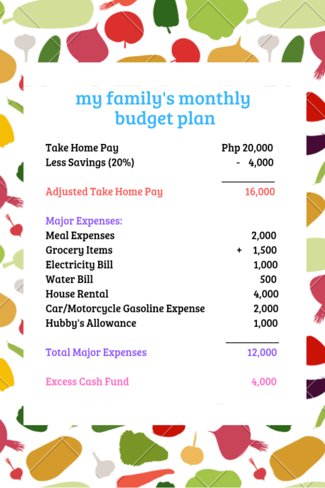 complete budget plan for your family's monthly expenses