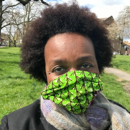 Photo of freelance producer Helen Bart wearing a COVIDmask