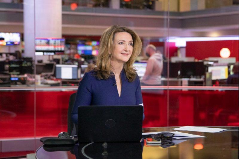 Portrait of Victoria Derbyshire in the BBC newsroom