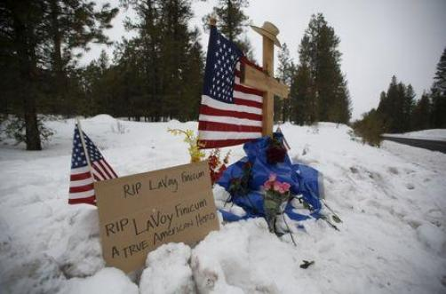 """A memorial for Robert """"LaVoy"""" Finicum is seen where he was shot and killed by law enforcement on a highway north of Burns, Oregon January 30, 2016. REUTERS/Jim Urquhart"""