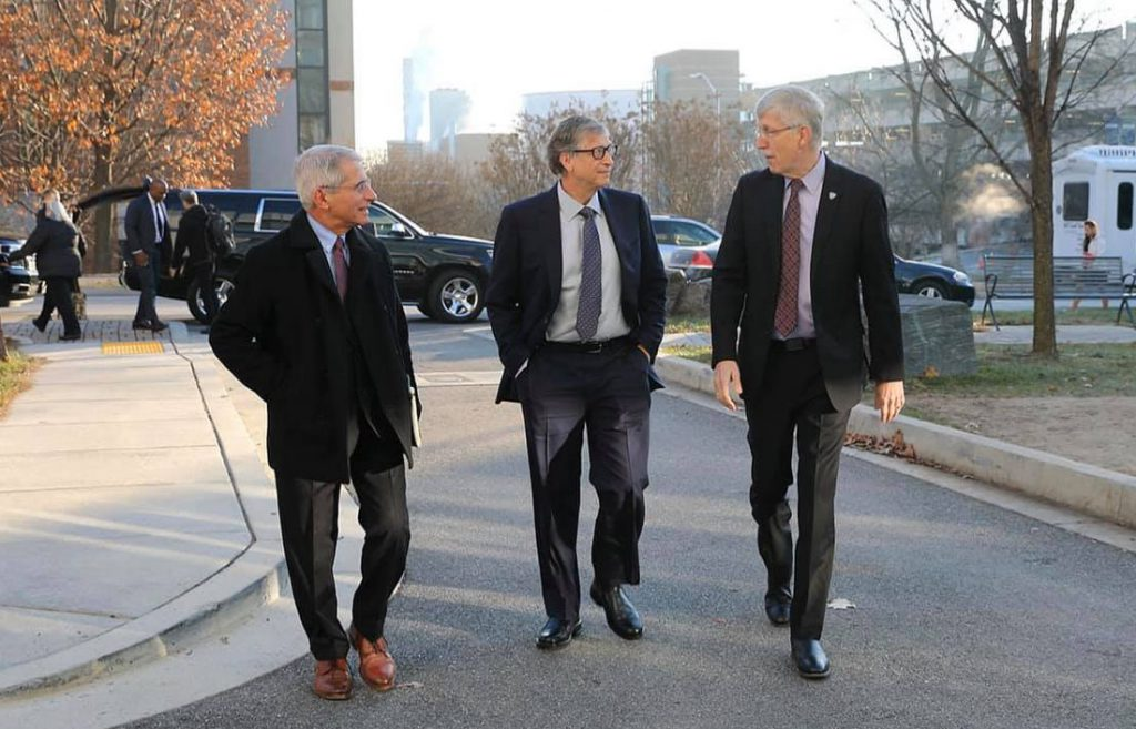 Bill Gates, NIH director Dr. Francis Collins, NIAID director Dr. Anthony Fauci