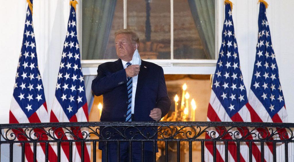 President Trump removes mask