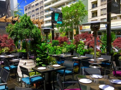 Tranquil Biophilic garden oasis at Estia Restaurant In Toronto Canada Created By Biophilic Designer Jeffrey Allis Best patio design Biophillia urban design