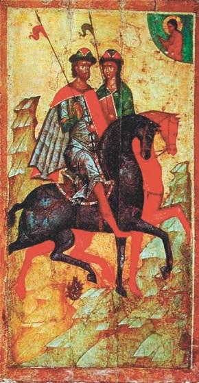 Борис и Глеб на конях. Икона середины XIV века