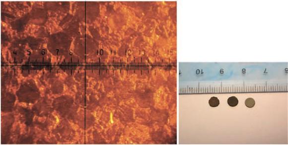 Путем инфильтрации алмазного порошка медью (9-13 %) под давлением 7-8 гПа получен теплоотводящий материал с рекордными для композиционных материалов значениями теплопроводности (~ 900 Вт/мК), сравнимыми с теплопроводностью чистого алмаза. Полученный материал перспективен для использования в качестве подложек в микроэлектронике.  Микроструктура компактов, полученных при 8 ГПа спеканием алмазного порошка ас 160 250/200 В присутствии Сu