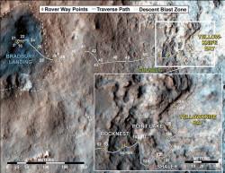 Путь Curiosity от места посадки до района Yellowknife Bay