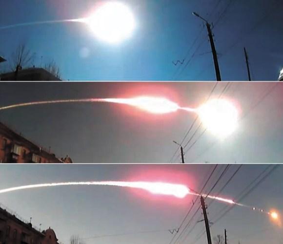 Рис.2. Бзрыв болида над Челябинском 15 февраля 2013 года. Кадры из видео Сергея Жабина (Челябинск)