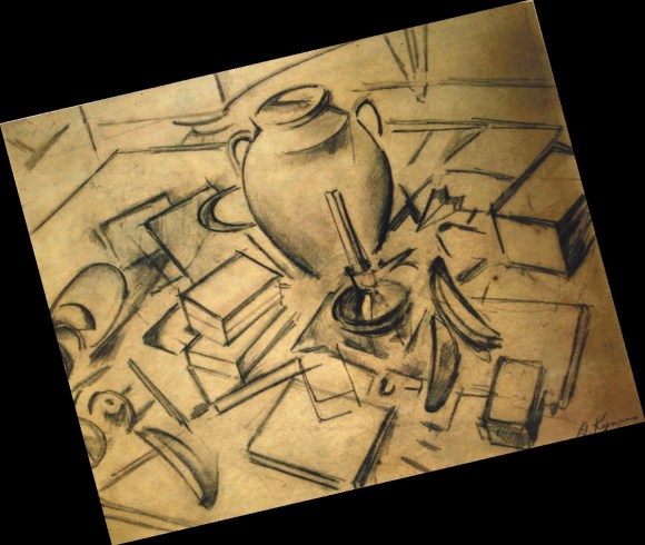 Александр Куприн. Натюрморт с книгами и со свечой (1911). Бумага, свинцовый карандаш