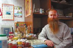 Иконописец Никола Подлеснов. Село Кунича, Молдавия, 2009 год