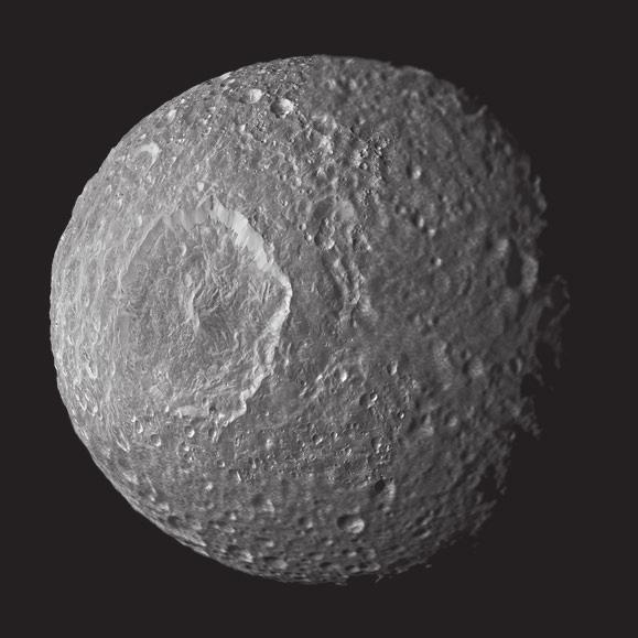 7. Океан на Мимасе? Этот напоминающий Звезду Смерти спутник диаметром в 396 км, судя по всему, имеет неожиданно сложное строение. Данные гравитационного изучения этого небесного тела свидетельствуют в пользу того, что под поверхностью Мимаса находится либо водный океан, либо более плотное ядро.