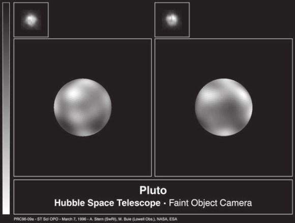 Даже с космическим телескопом «Хаббл» на Плутоне удалось зафиксировать лишь небольшие перепады яркости