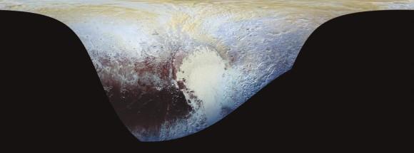 10. Эта цилиндрическая проекция Плутона с дополнительными цветами — самая подробная на нынешний момент цветная карта Плутона. Она использует цвета, полученные с помощью камеры «Ральф», которые наложены поверх базовой карты от камеры дальней разведки LORRI (Long-Range Reconnaissance Imager) с разрешением в 5 микрорадиан. Разумеется, карта может быть увеличена, чтобы выявить ценные для науки подробности.