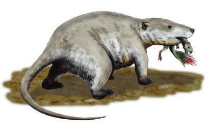 Репеномам с детенышем пситтакозавра в зубах