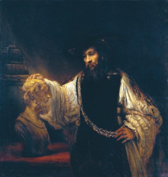 Рембрандт. Аристотель перед бюстом Гомера. 1653. Холст, масло. 143,5 × 136,5 см. Метрополитен-музей (Нью-Йорк)