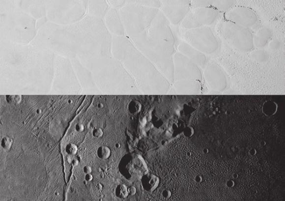 Отмечаются разительные отличия во внешнем виде ландшафтов Плутона и Харона. Вверху — фрагмент обширного яркого ледяного плато Плутона, носящего неформальное наименование равнины Спутника (Sputnik Planum) — в честь первого советского спутника. Внизу — равнина Вулкана на Хароне (Vulcan Planum, это название пока также неформальное). Снимок равнины Спутника охватывает 367 км в длину, равнина Вулкана — соответственно 312 км. В обоих случаях солнце светит слева. Равнина Спутника — образование овальной формы площадью 870 тыс. км 2 с высоким альбедо (отражательной способностью) с центром в 20° с.ш. и 175° в.д. (в районе «сердца»). Светлые азотно-ледяные равнины (там присутствуют также СО и СН4) исчерчены сетью пересекающихся желобов. Снимки получены мультиспектральной камерой «Ральф» при разрешении 320 м на пиксель. Вид равнины Вулкана в нижней части включает в себя «гору, окруженную канавой» в районе гор Артура Кларка (чуть выше центра изображения). Равнины, богатые водяным льдом, демонстрируют самый обширный диапазон текстур поверхности — от гладких и чуть рифленых слева до сильно бугристых справа. Изображение получено с камеры дальней разведки LORRI (Long-Range Reconnaissance Imager) при разрешении 160 м на пиксель
