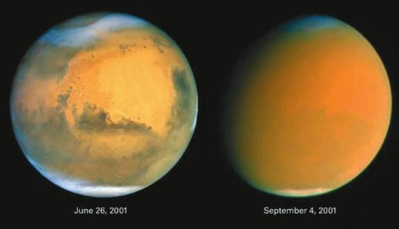 Марс в ясную погоду и в глобальную пылевую бурю. Фото Hubble NASA/ESA