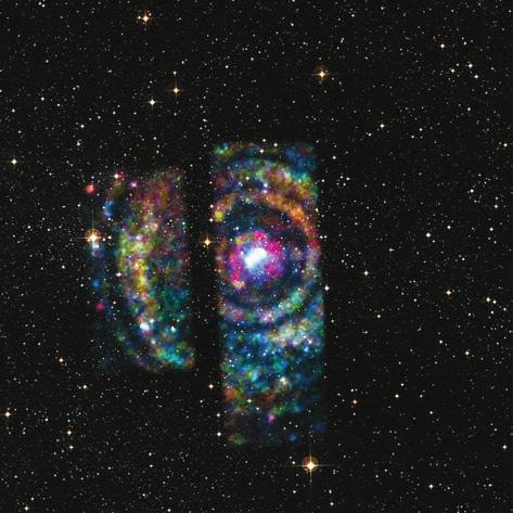 Рентгеновское эхо от мощной вспышки микроквазара Циркуль X-1 (Circinus X-1). Снимок космической обсерватории «Чандра»