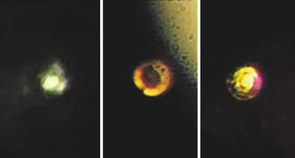 Фотографии водорода при разном давлении. Образец освещался светодиодами с двух сторон. Слева — 205 ГПа (образец прозрачен, виден задний светодиод), в центре — 415 ГПа (образец почернел и стал непрозрачен, справа вверху — гало от несфокусированного светодиода, светлое кольцо — рениевая прокладка), справа — 495 ГПа — образец стал отражать. Центральное пятно, водород, отражает заметно больше, чем рениевое кольцо. Фото из статьи Dias R. P. et al., Science 10.1126/science.aal1579 (2017)