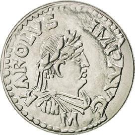 Современные (2000) 5 франков с изображением денария Карла Великого, который хранится в Cabinet des Médailles в Париже. (numiscorner.fr)