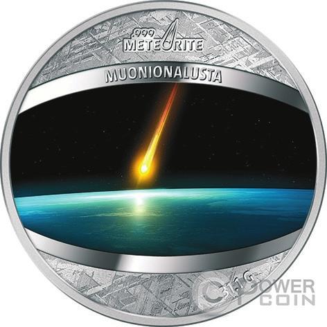 13. 1 доллар, Ниуэ, 2016 год. Монета целиком сделана из железного метеорита Muonionalusta (Швеция); на спиле видны Видманштеттеновы фигуры, возникающие в результате взаимодействия разных форм железо-никелевого сплава (Power Coin)
