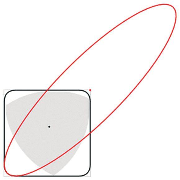 10. Вращение треугольника Рёло в квадрате. Красная линия — эллипс, дуга которого ограничивает оставшийся непокрытым угол («Википедия»)