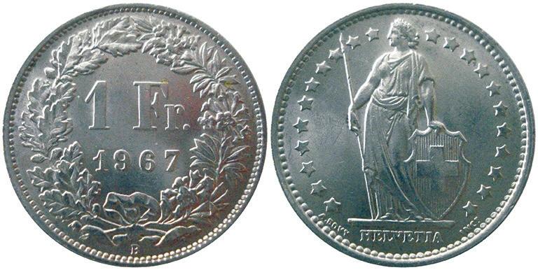 17. Швейцария. 1 франк образца 1875–1967 годов (5 г, 83,5% серебра)