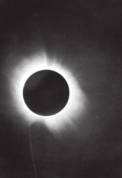 Фотографическая пластина. Затмение 29 мая 1919 года, Бразилия. Из отчета А. Эддингтона