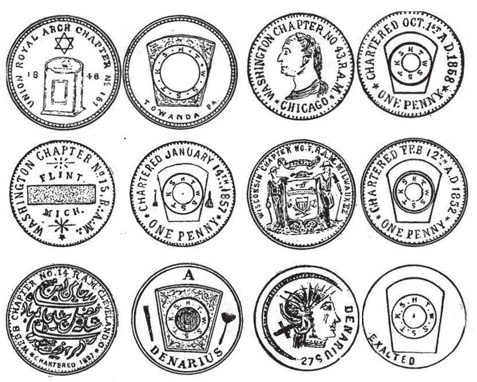"""Рисунок из каталога Э. А. Кинга """"Masonic Chapter Pennies"""". Обратите внимание на номиналы нижних жетонов — динарий"""