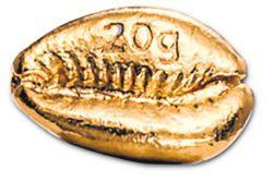 13. ЮАР, современный слиток золота в форме раковины каури