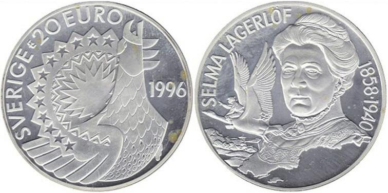 Рис. 10. Шведская серебряная монета 5 евро с портретом нобелевского лауреата писательницы Сельмы Лагерлёф
