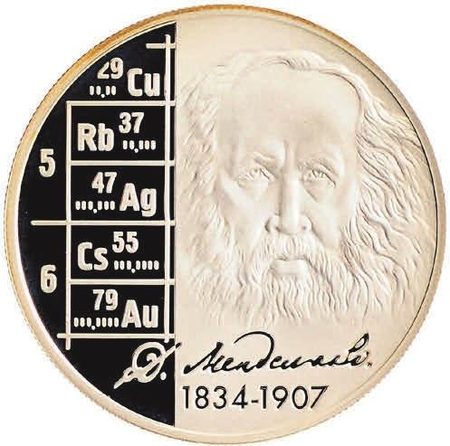 В 2009 году сравнительно скромным тиражом 7500 экз. была отчеканена серебряная монета (Ag-925) номиналом 2 руб., посвященная 175-летию со дня рождения Менделеева и 140-летию его периодического закона