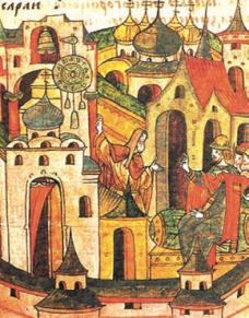 Миниатюра из лицевого свода: Лазарь-сербин устанавливает часы