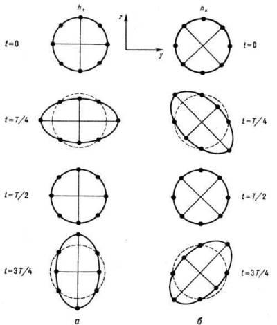 Рис. 2. Смещения пробных частиц под действием гравитационной волны в ОТО, распространяющейся перпендикулярно плоскости рисунка. allchem.ru/pages/physic/881