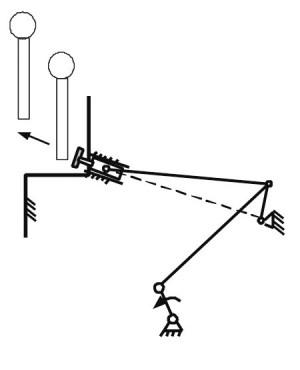 Шестистержневой рычажный механизм с заводной рукояткой, получающей движение от колес