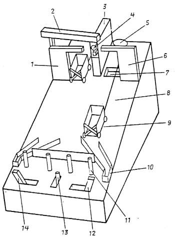 Рис. 1. Экспериментальная установка — исследовательская игрушка-головоломка для изучения физического мышления и экспериментирования у детей: 1 — левая башня, 2 — контейнер-труба, 3 — центральная башня, 4 — шар на подставке, 5 — блок, 6 — правая башня, 7 — яма, 8 — нить, 9 — тележка, 10 — правый тупик, 11 — кнопка, 12 — правая рукоятка, 13 — центральная рукоятка, 14 — левая рукоятка