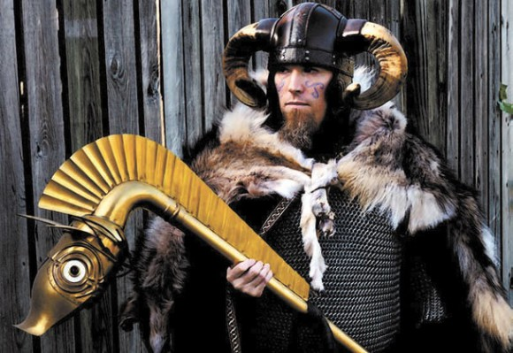 Реконструктор истории в образе кельта из племени Вакомаги (II-IV века н.э. )